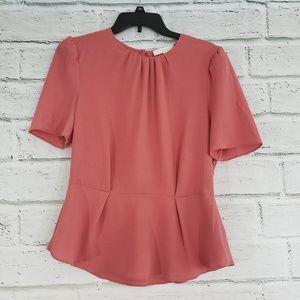 WAYF peplum zipper side short sleeve blouse